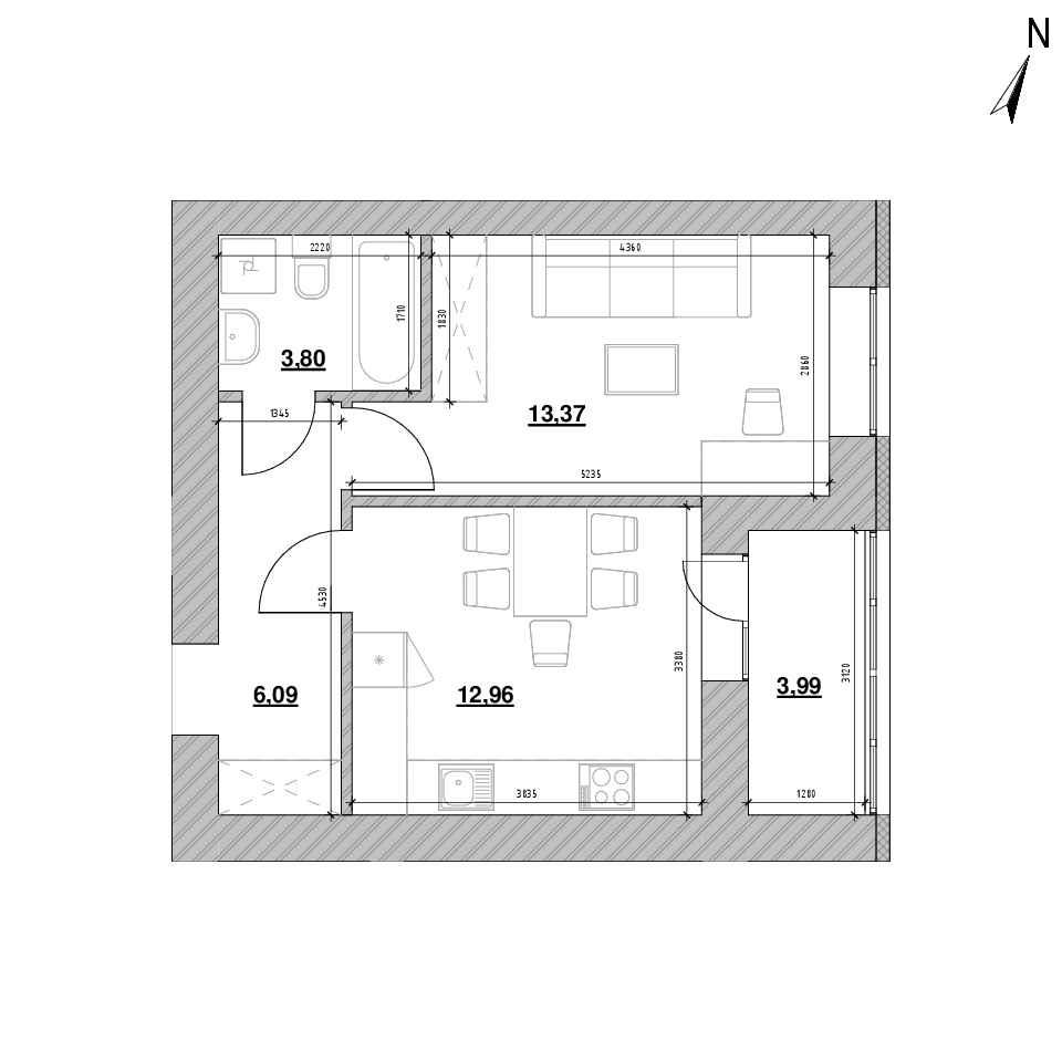 ЖК Шенген: планування 1-кімнатної квартири, №3, 40.21 м<sup>2</sup>