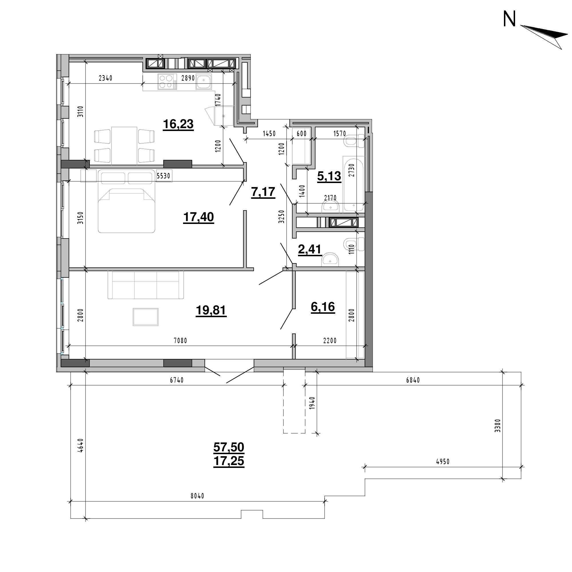 ЖК Підзамче. Новий Форт: планування 2-кімнатної квартири, №30а, 91.56 м<sup>2</sup>