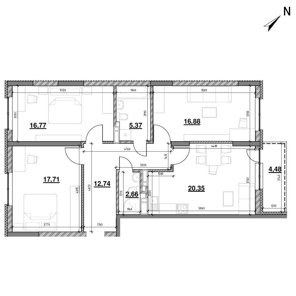ЖК Оk'Land: планування 3-кімнатної квартири, №197, 96.96 м<sup>2</sup>