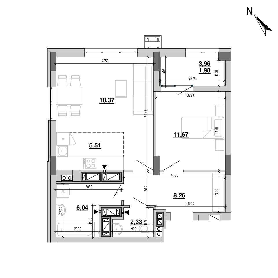 ЖК Підзамче. Вежа: планування 2-кімнатної квартири, №38, 54.16 м<sup>2</sup>
