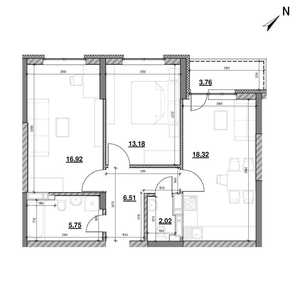 ЖК Оk'Land: планування 2-кімнатної квартири, №344, 66.46 м<sup>2</sup>