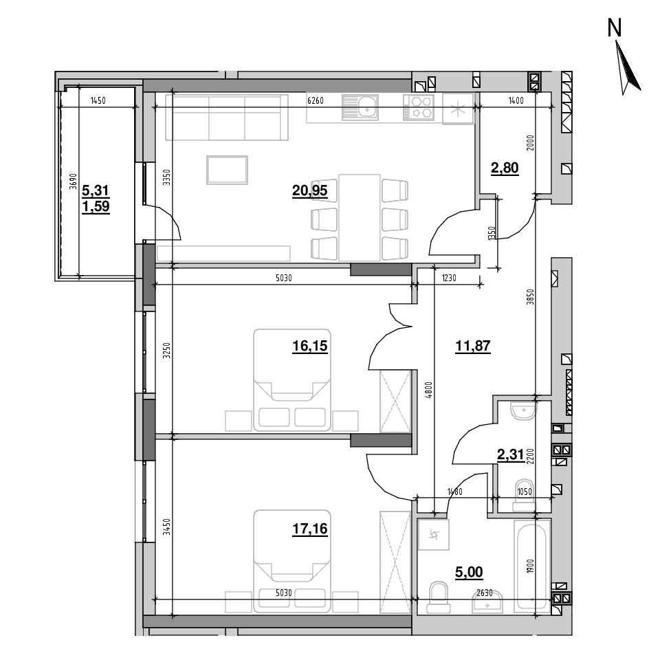 ЖК Riel City: планування 2-кімнатної квартири, №77, 77.84 м<sup>2</sup>