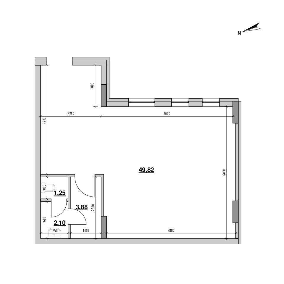 ЖК Америка: планування приміщення площею 57.05 м<sup>2</sup>