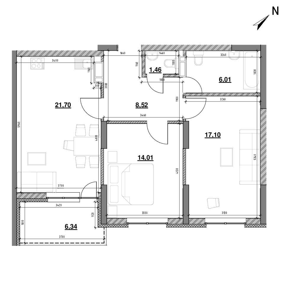 ЖК Оk'Land: планування 2-кімнатної квартири, №544, 75.14 м<sup>2</sup>
