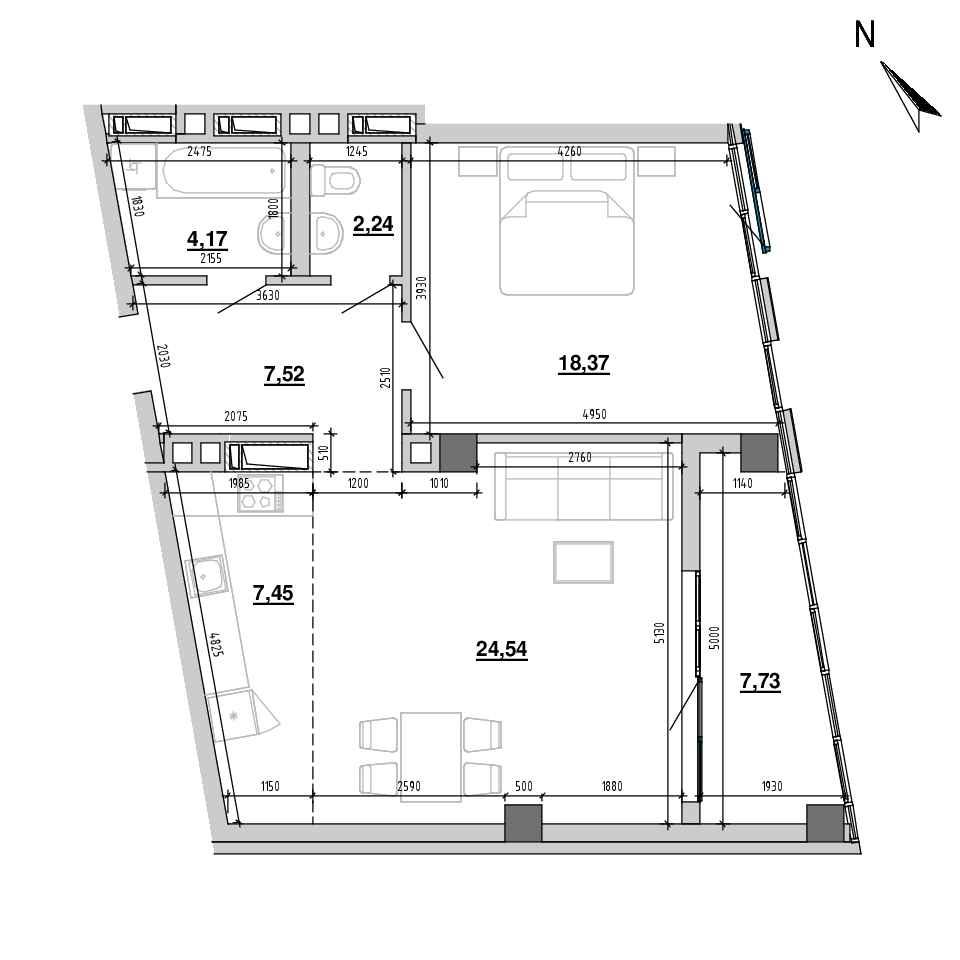 ЖК Підзамче. Вежа: планування 2-кімнатної квартири, №12, 72.02 м<sup>2</sup>