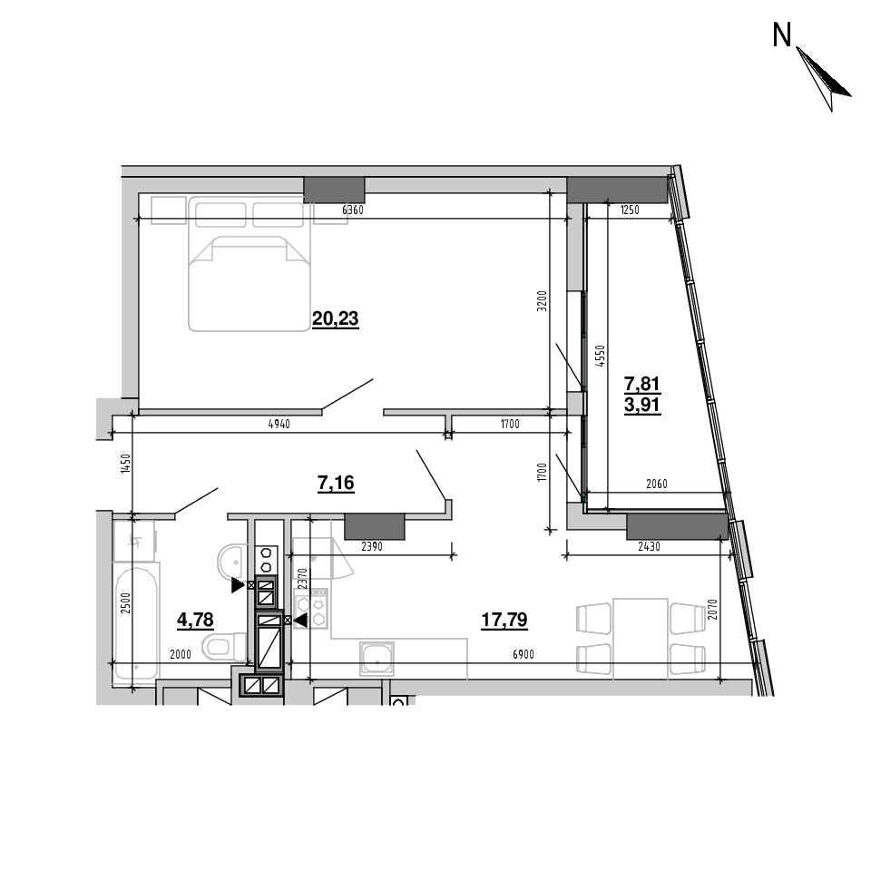 ЖК Підзамче. Вежа: планування 1-кімнатної квартири, №19, 53.87 м<sup>2</sup>