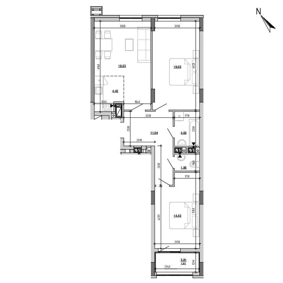 ЖК Підзамче. Вежа: планування 3-кімнатної квартири, №4, 75.33 м<sup>2</sup>