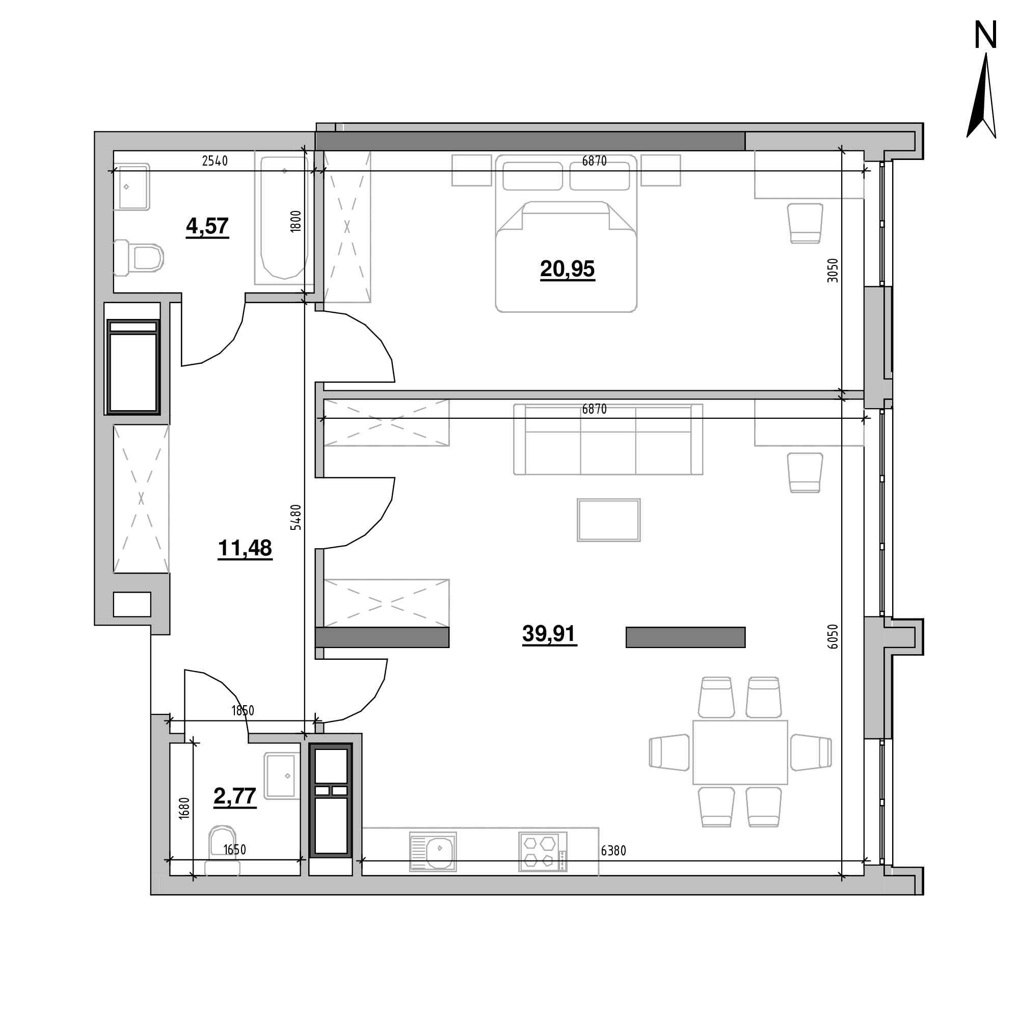 ЖК Nordica Residence: планування 1-кімнатної квартири, №206, 79.68 м<sup>2</sup>