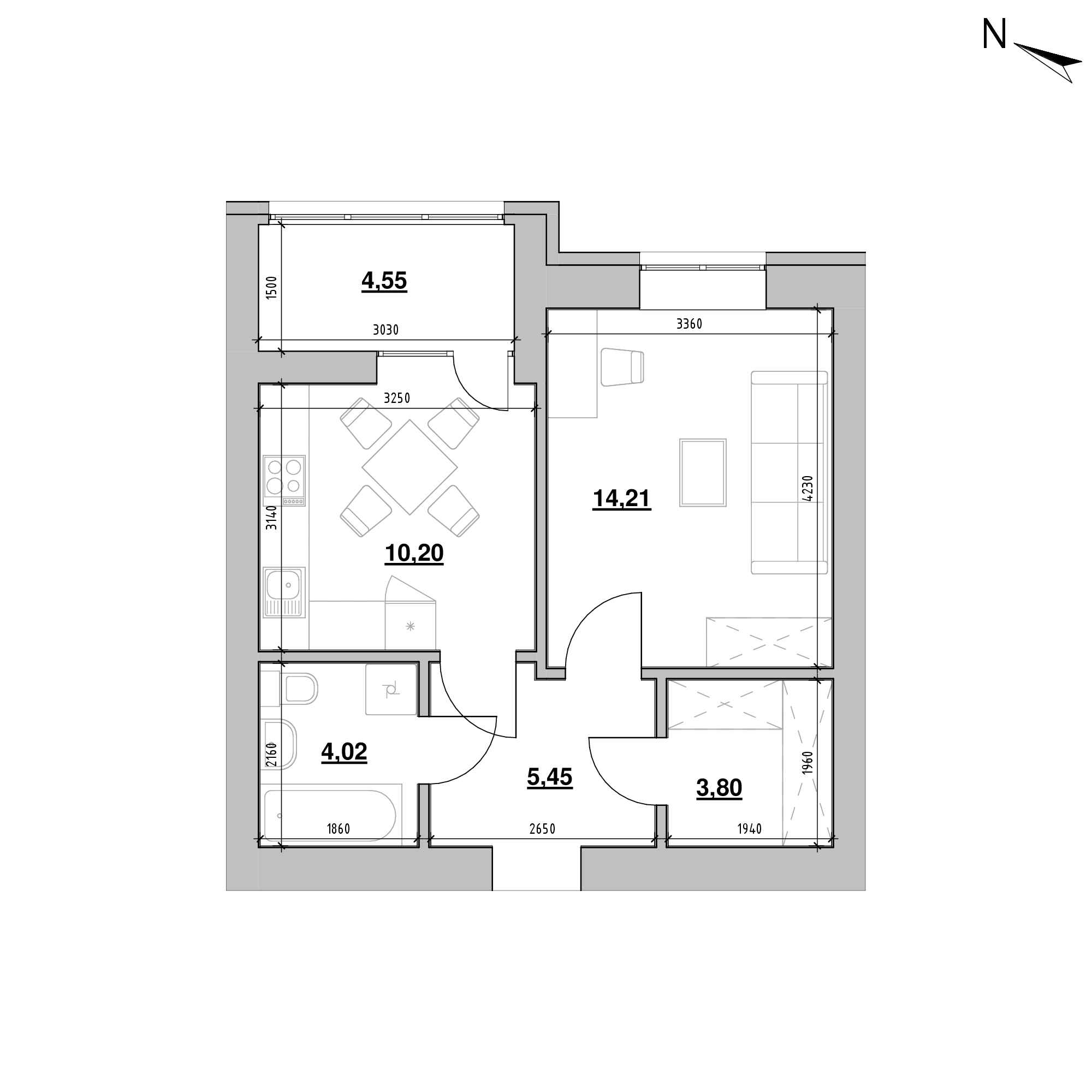 ЖК Шенген: планування 1-кімнатної квартири, №19, 42.23 м<sup>2</sup>
