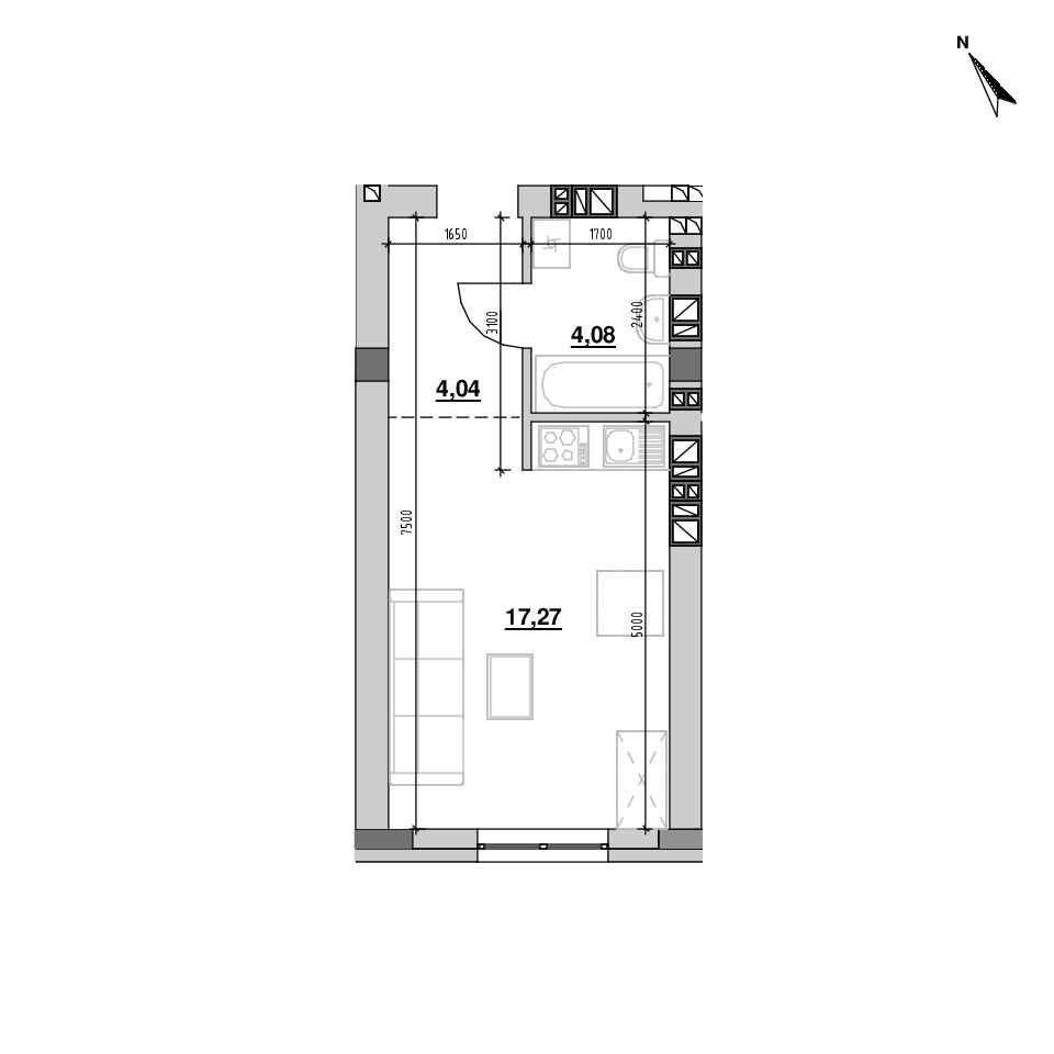 ЖК Riel City: планування 1-кімнатної квартири, №216, 25.39 м<sup>2</sup>