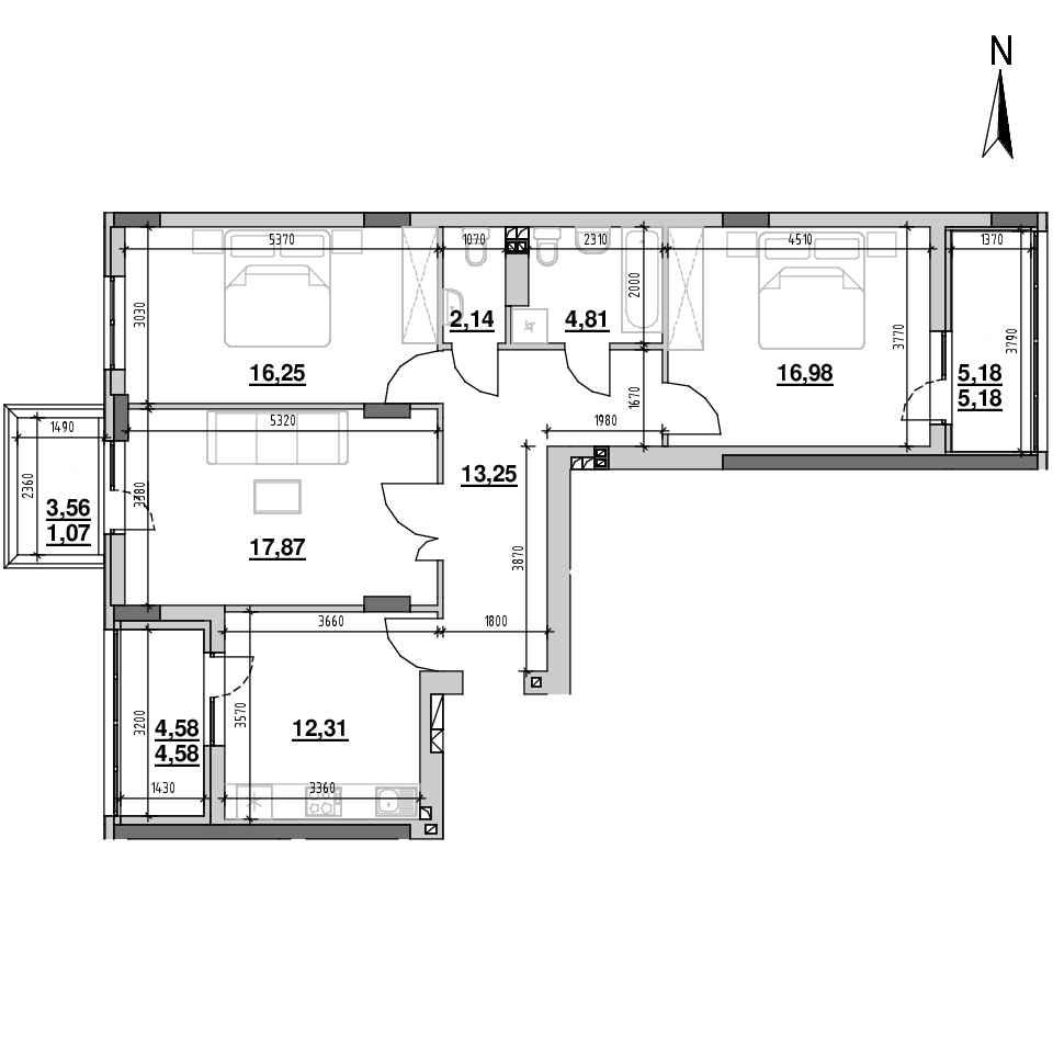 ЖК Riel City: планування 3-кімнатної квартири, №1, 94.44 м<sup>2</sup>