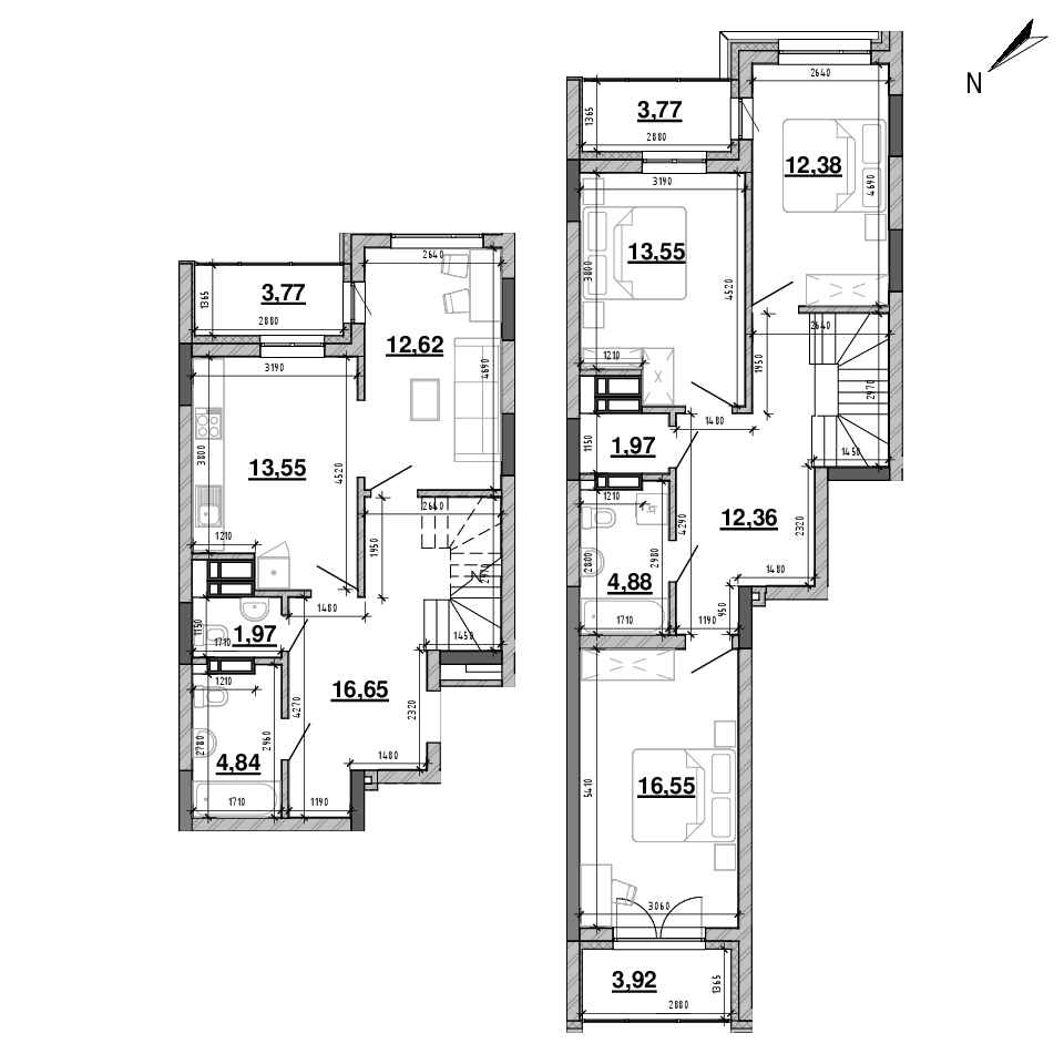 ЖК Львівська Площа: планування 4-кімнатної квартири, №64, 122.78 м<sup>2</sup>