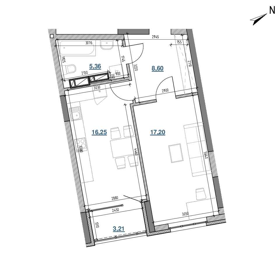 ЖК Берег Дніпра: планування 1-кімнатної квартири, №258, 50.62 м<sup>2</sup>