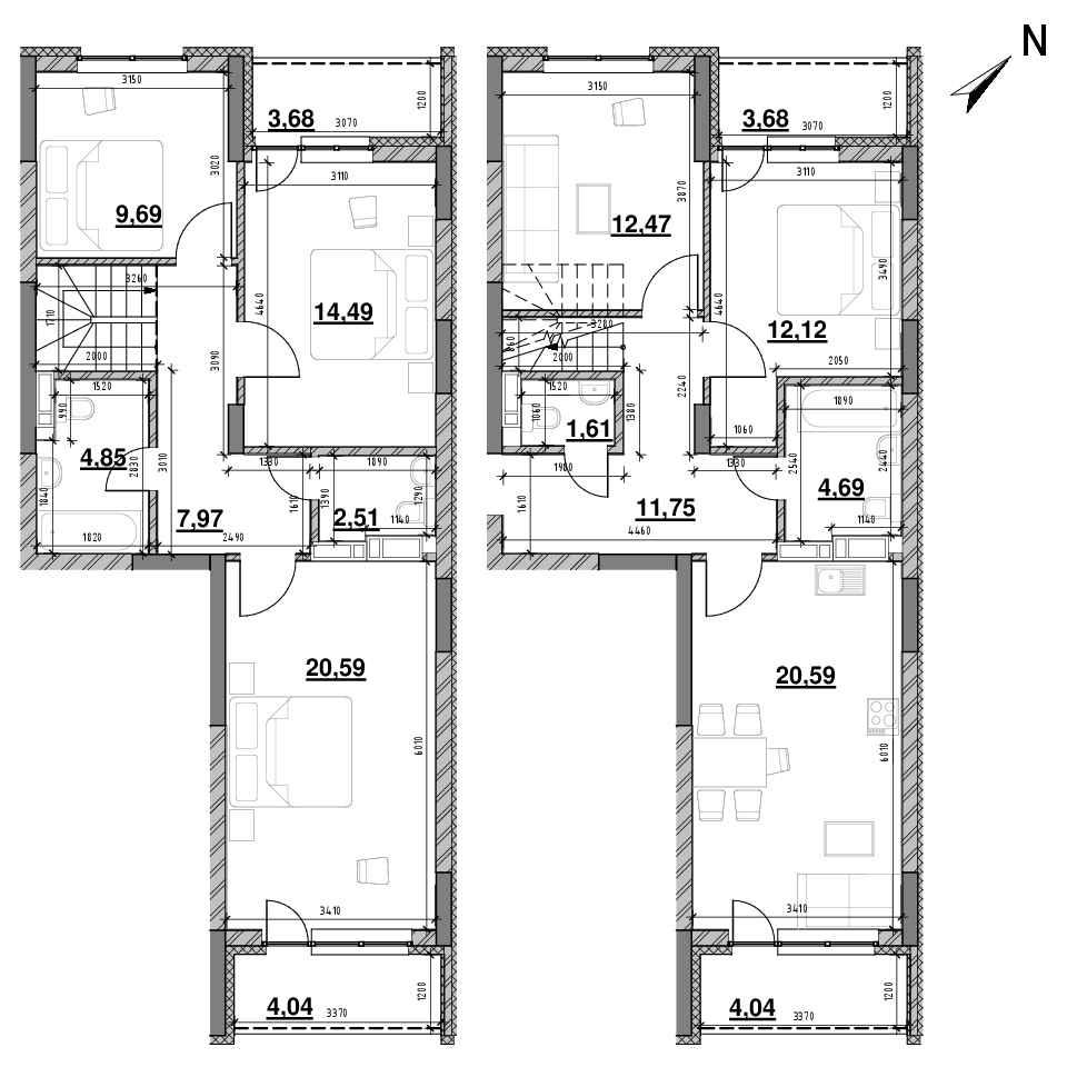 ЖК Оk'Land: планування 5-кімнатної квартири, №623, 144.46 м<sup>2</sup>