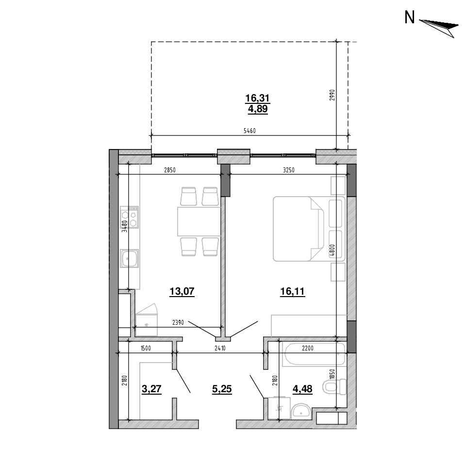 ЖК Підзамче. Брама: планування 1-кімнатної квартири, №1, 47.3 м<sup>2</sup>