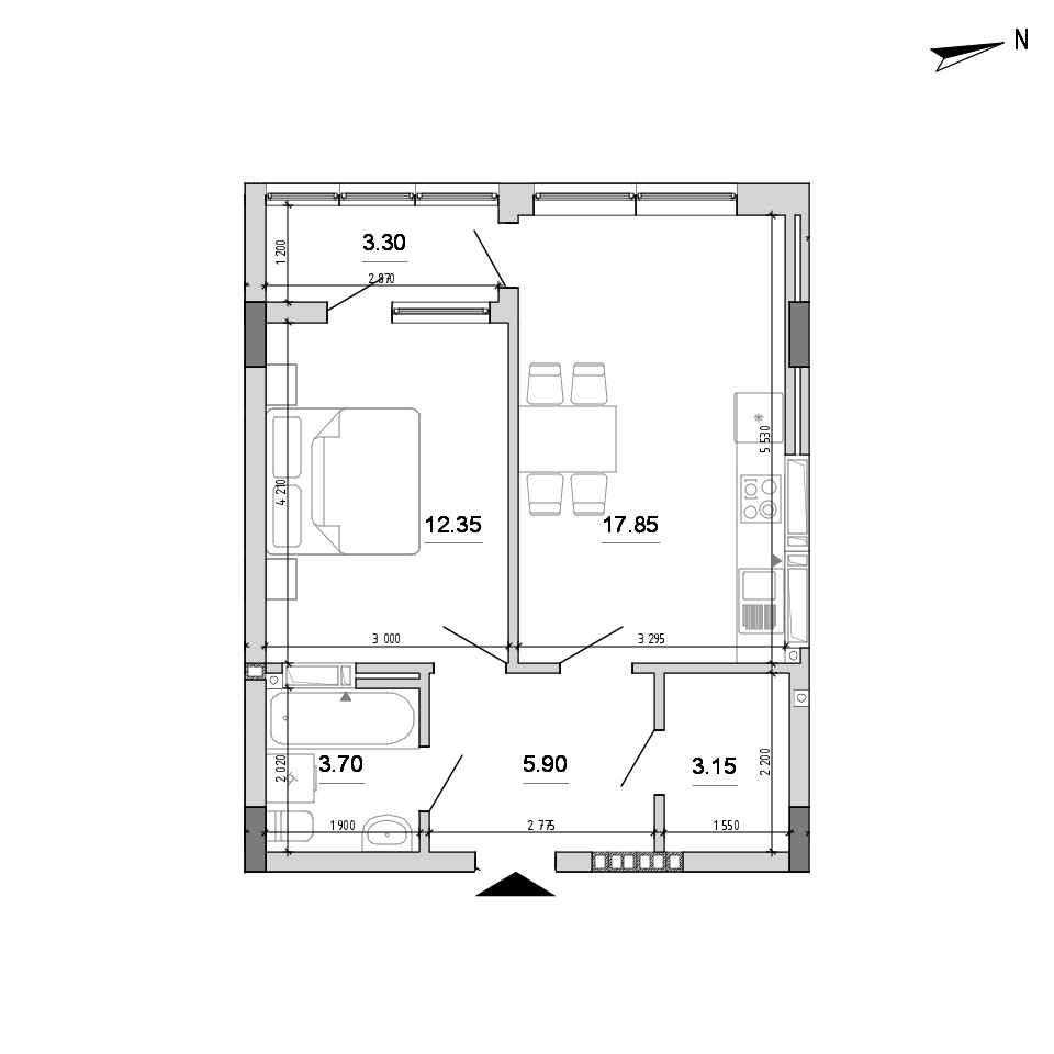 ЖК Forward: планування 1-кімнатної квартири, №77, 46.25 м<sup>2</sup>