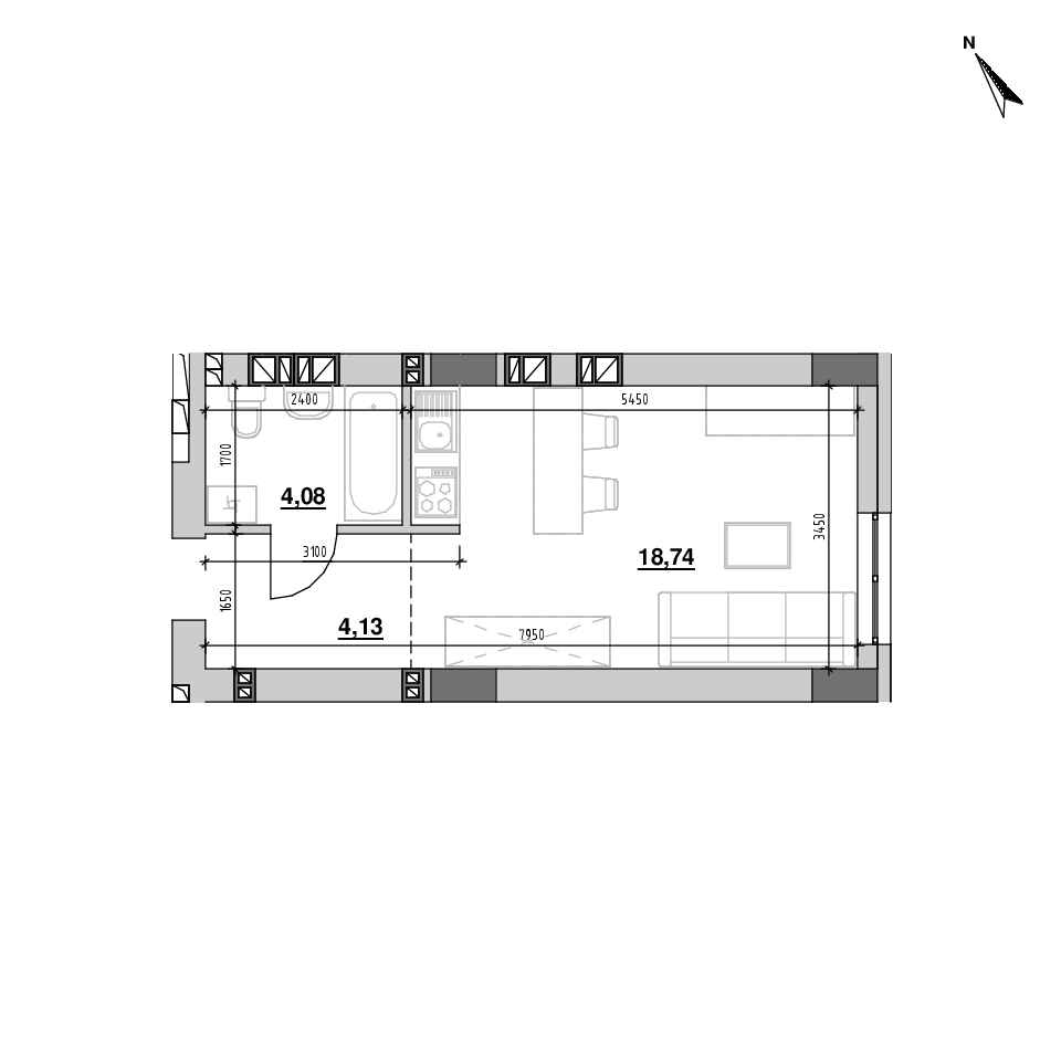 ЖК Riel City: планування 1-кімнатної квартири, №129, 26.94 м<sup>2</sup>
