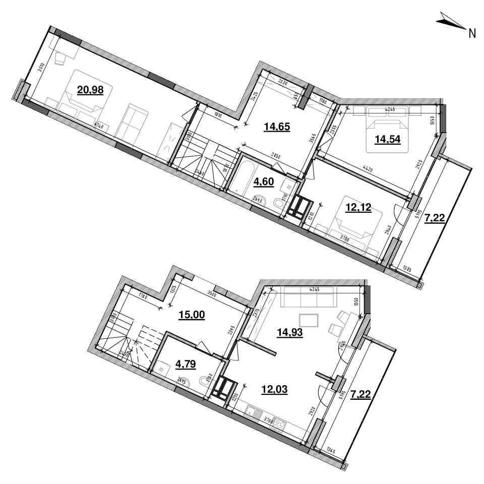 ЖК Львівська Площа: планування 4-кімнатної квартири, №158, 124.47 м<sup>2</sup>