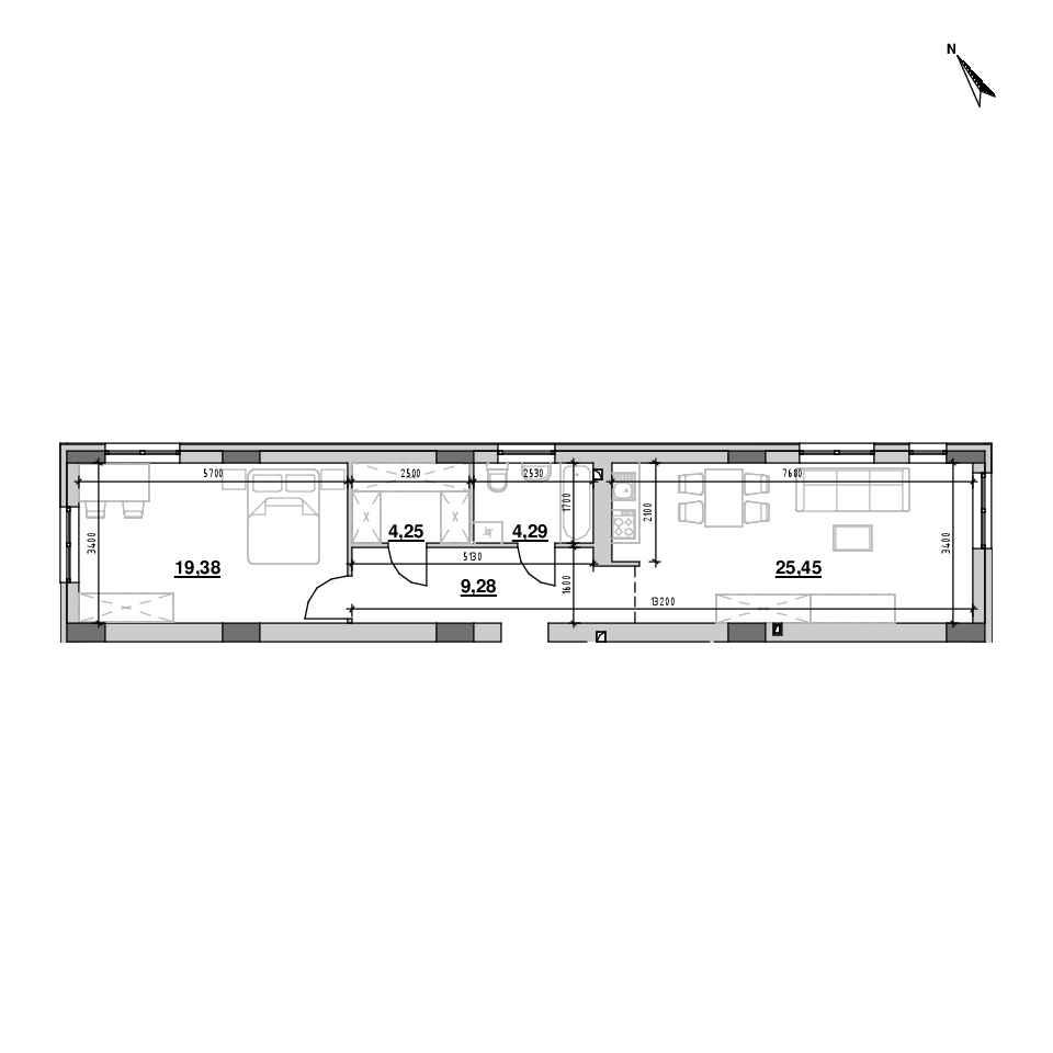 ЖК Riel City: планування 1-кімнатної квартири, №3, 62.3 м<sup>2</sup>
