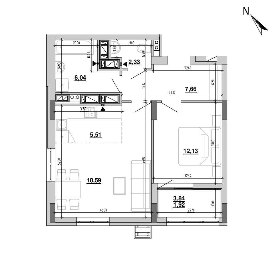 ЖК Підзамче. Вежа: планування 2-кімнатної квартири, №30, 54.18 м<sup>2</sup>