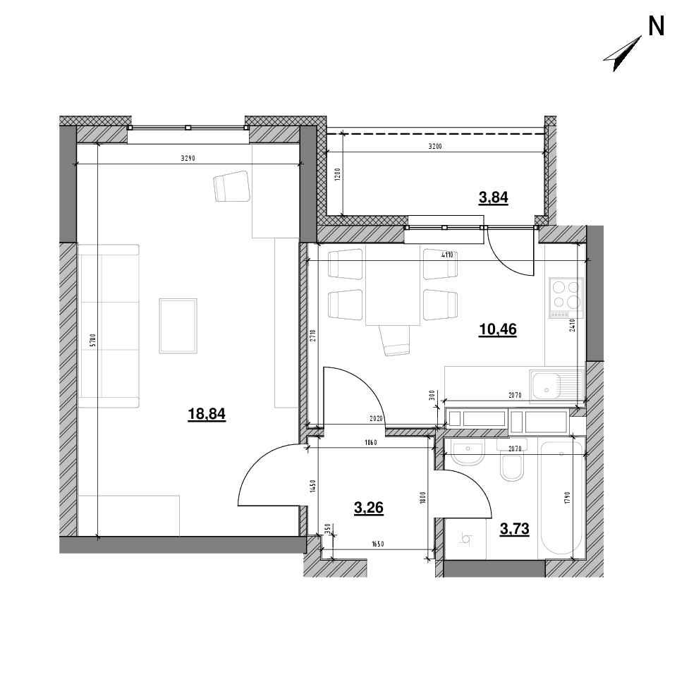 ЖК Оk'Land: планування 1-кімнатної квартири, №174, 40.13 м<sup>2</sup>