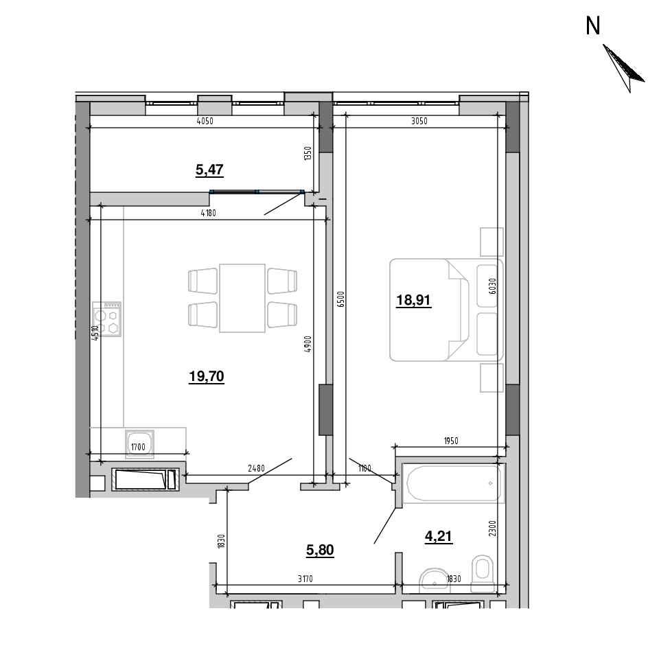 ЖК Підзамче. Вежа: планування 1-кімнатної квартири, №32, 54.09 м<sup>2</sup>