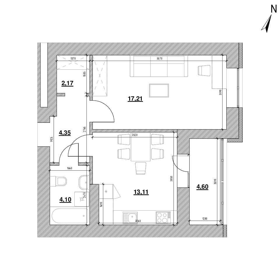 ЖК Шенген: планування 1-кімнатної квартири, №5, 45.54 м<sup>2</sup>