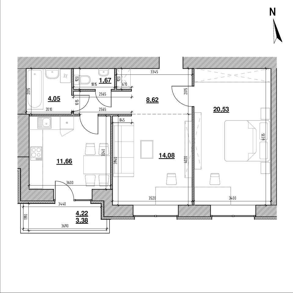 ЖК Компаньйон: планування 2-кімнатної квартири, №3, 63.99 м<sup>2</sup>