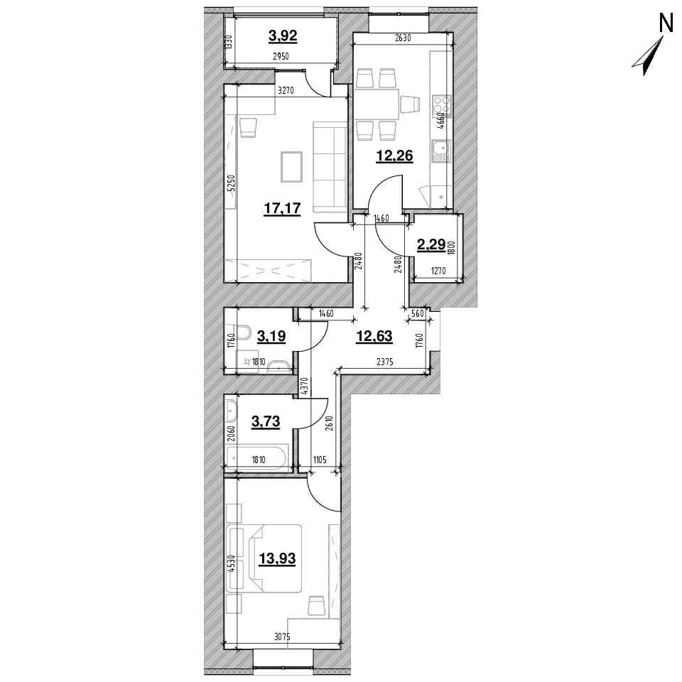 ЖК Шенген: планування 2-кімнатної квартири, №66, 69.12 м<sup>2</sup>