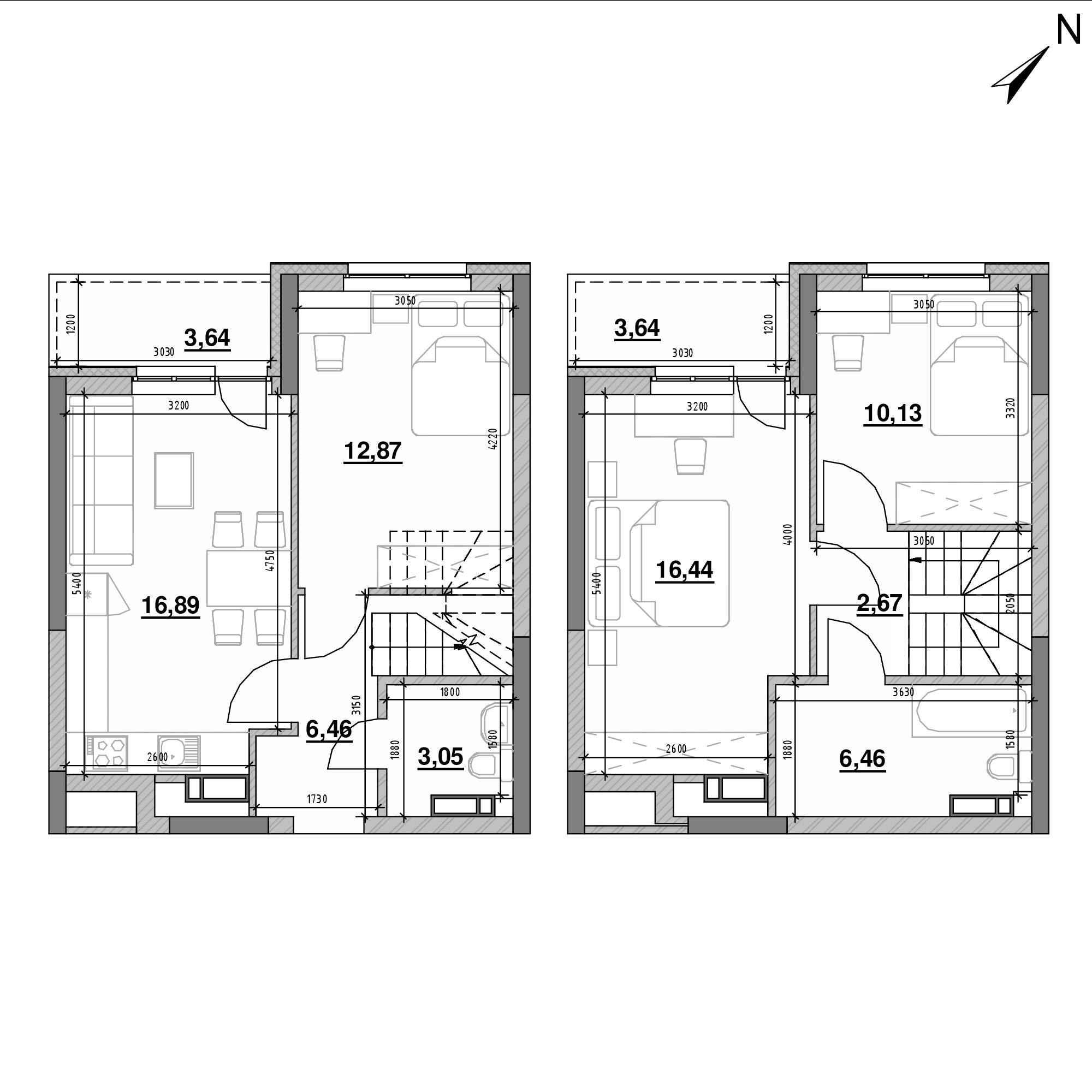 ЖК Оk'Land: планування 3-кімнатної квартири, №458, 82.25 м<sup>2</sup>