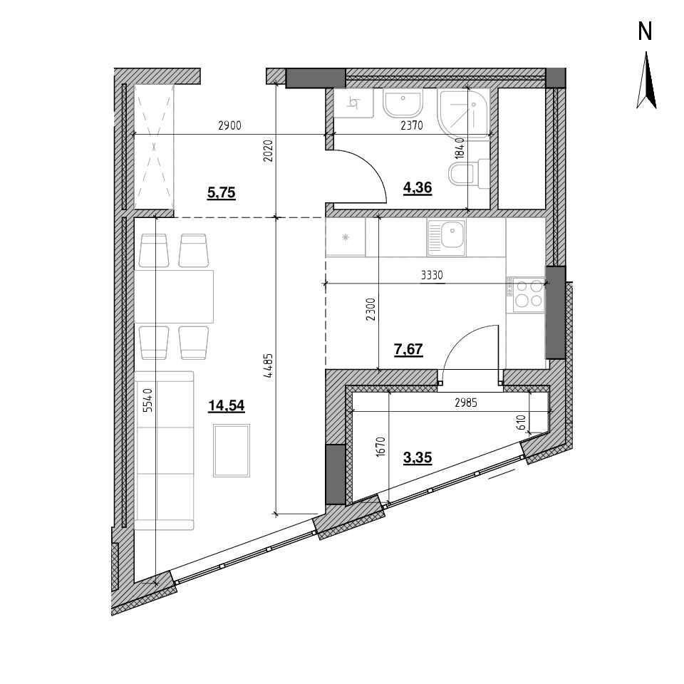 ЖК Голоські Кручі: планування 1-кімнатної квартири, №1, 35.61 м<sup>2</sup>