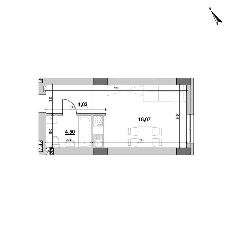 ЖК Riel City: планування 1-кімнатної квартири, №127, 26.6 м<sup>2</sup>