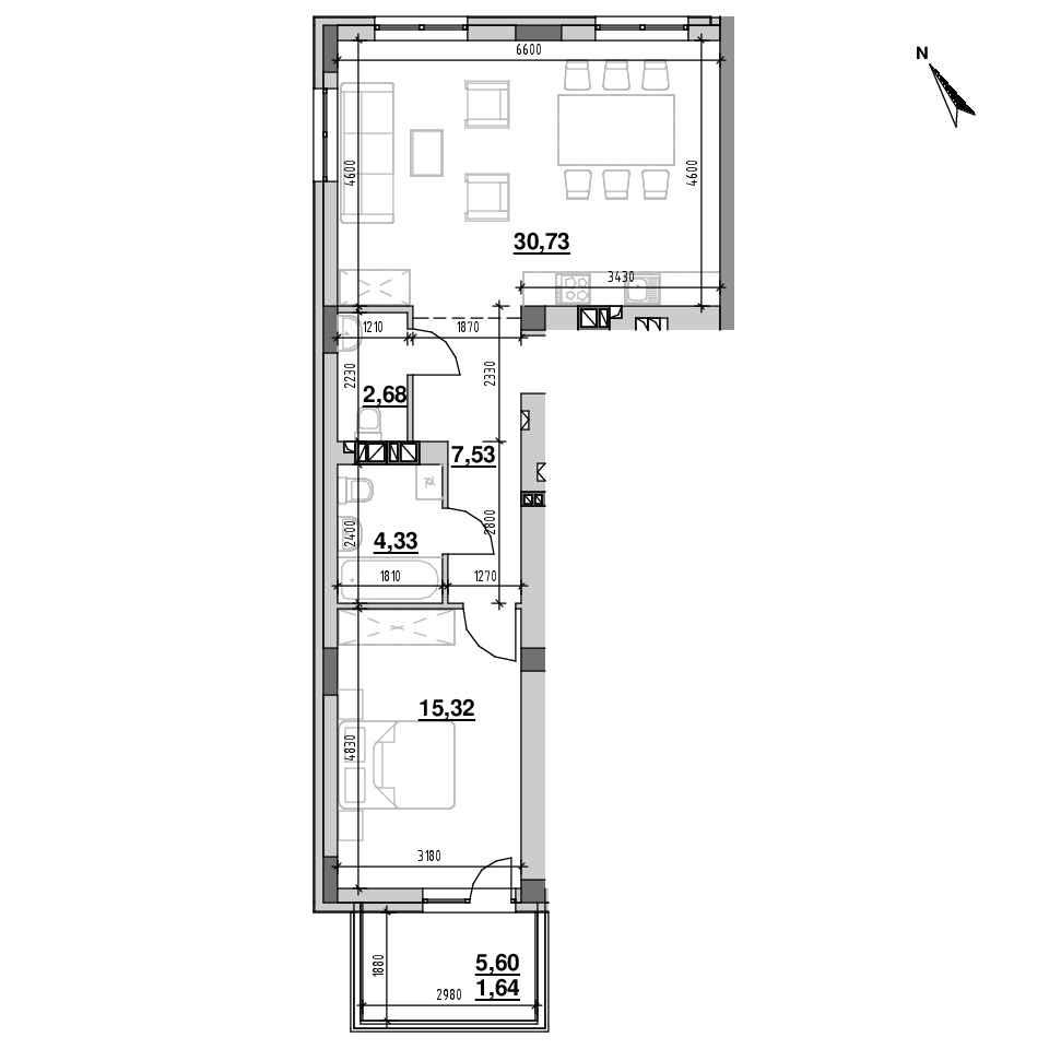 ЖК Riel City: планування 1-кімнатної квартири, №46, 62.23 м<sup>2</sup>