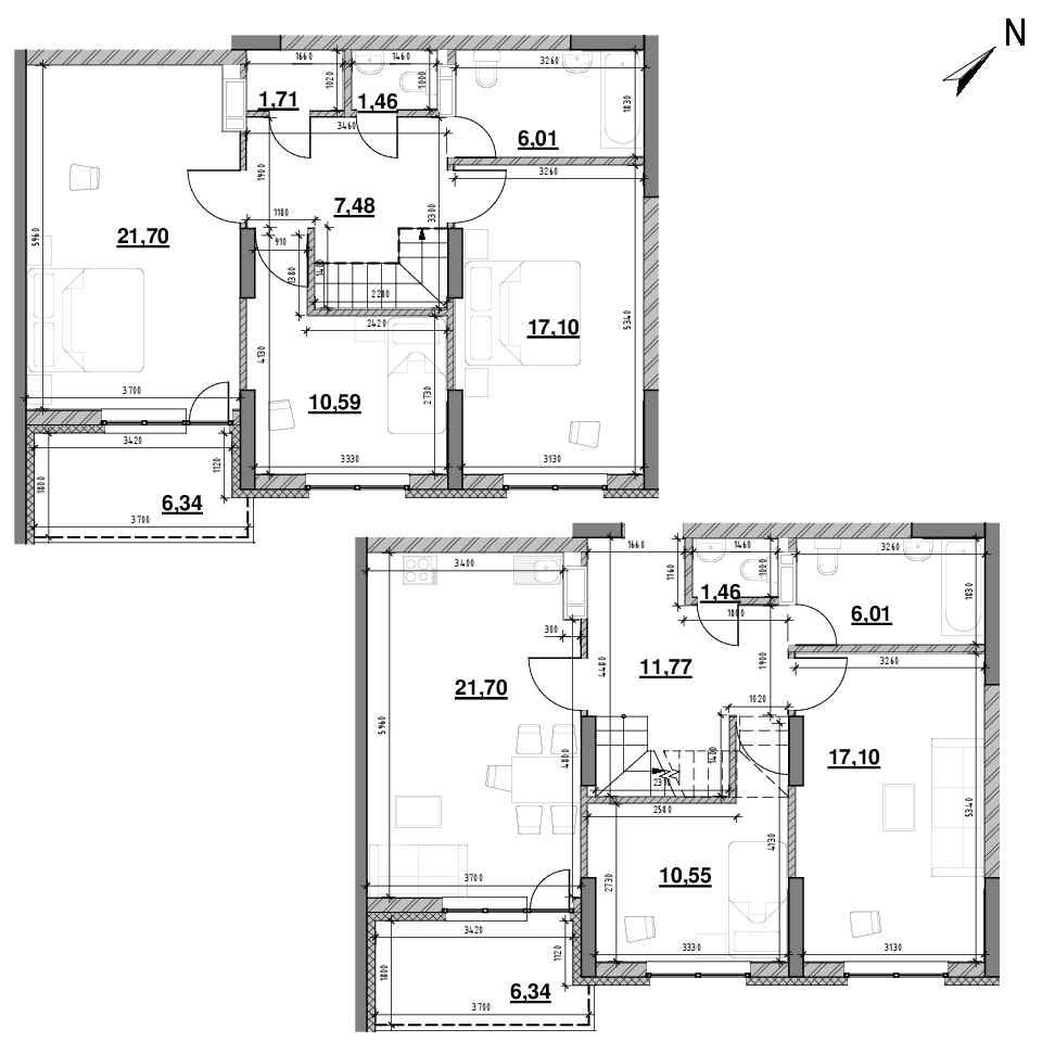 ЖК Оk'Land: планування 5-кімнатної квартири, №624, 153.29 м<sup>2</sup>