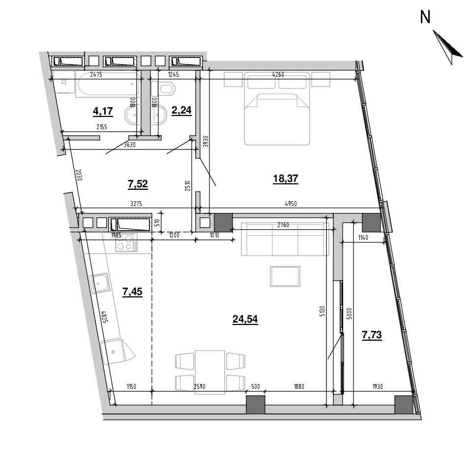 ЖК Підзамче. Вежа: планування 2-кімнатної квартири, №2, 72.02 м<sup>2</sup>