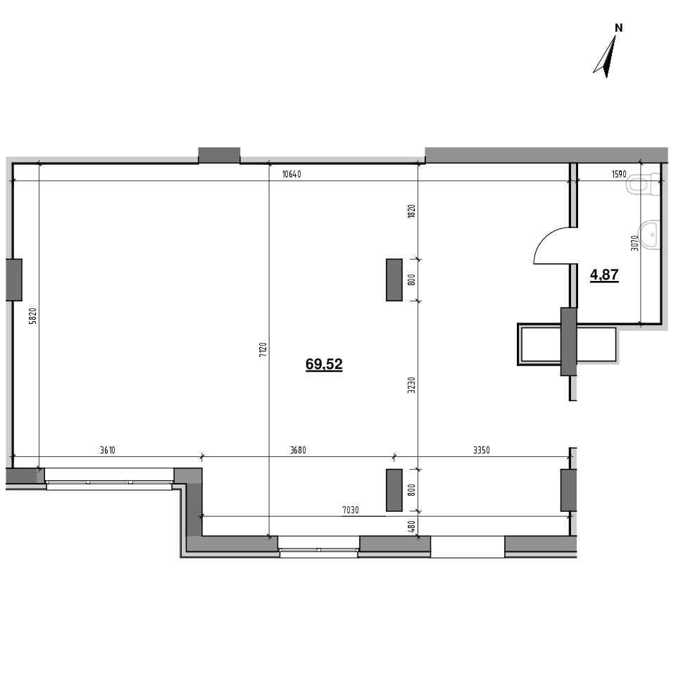 ЖК Америка: планування приміщення площею 74.39 м<sup>2</sup>