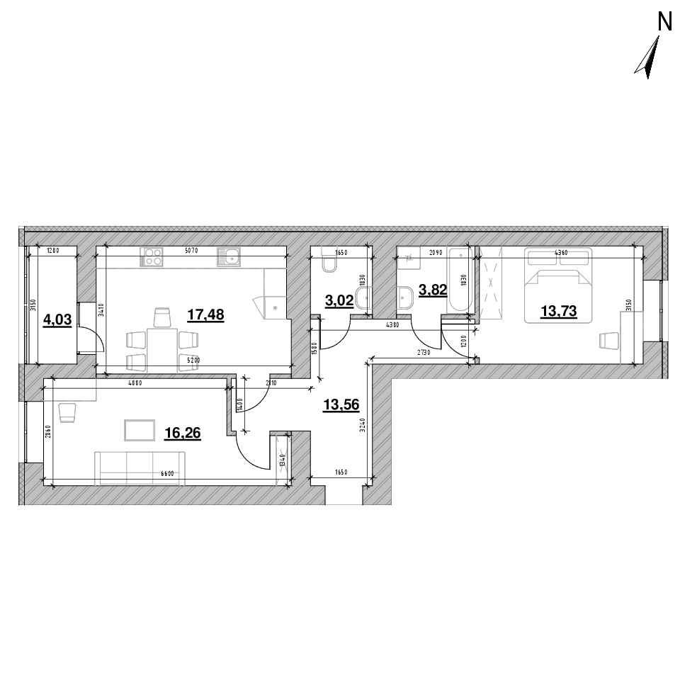 ЖК Шенген: планування 2-кімнатної квартири, №18, 71.9 м<sup>2</sup>