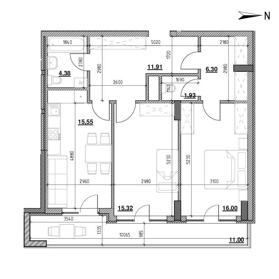 ЖК Голоські Кручі: планування 2-кімнатної квартири, №81, 74.69 м<sup>2</sup>