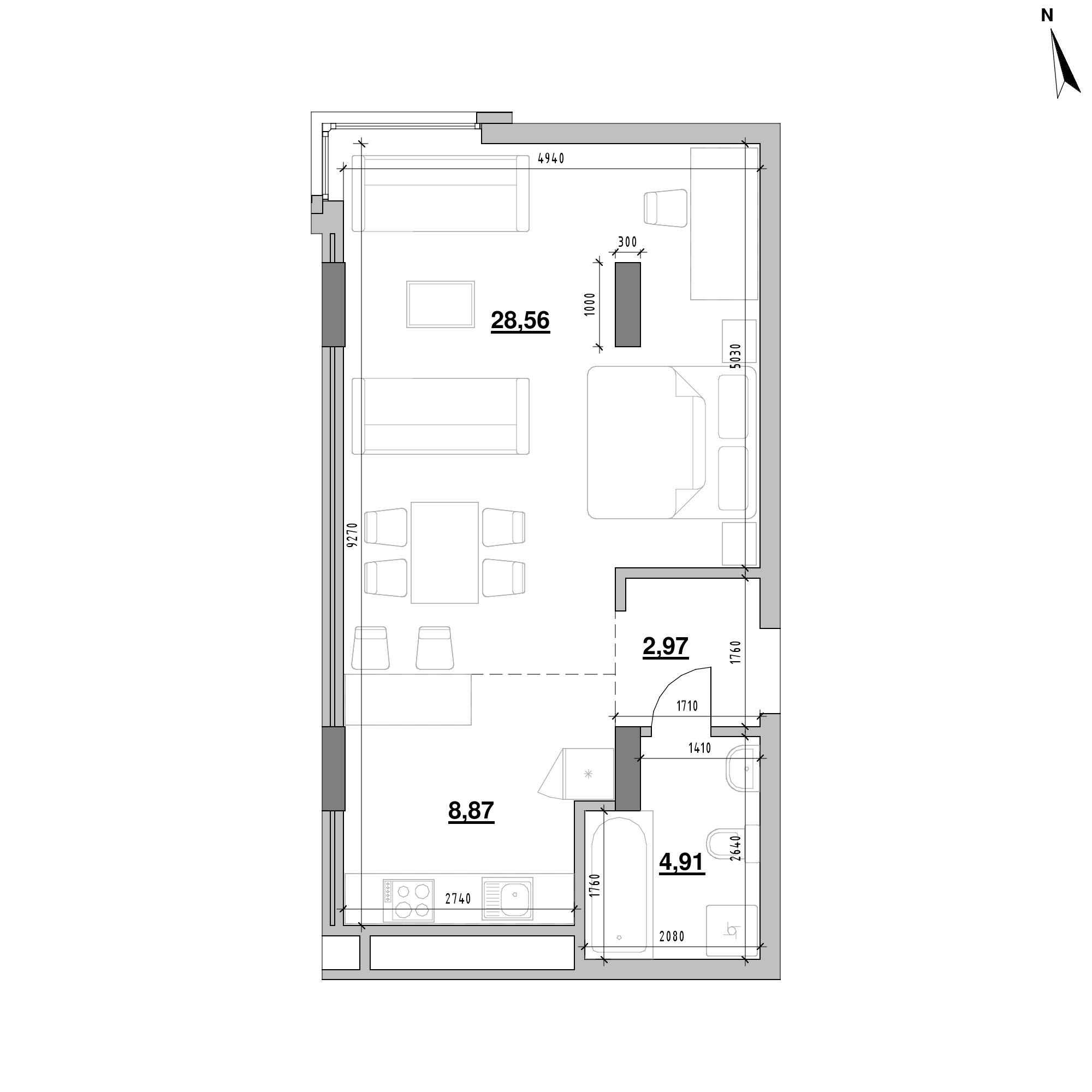 ЖК Америка: планування 1-кімнатної квартири, №231, 45.31 м<sup>2</sup>