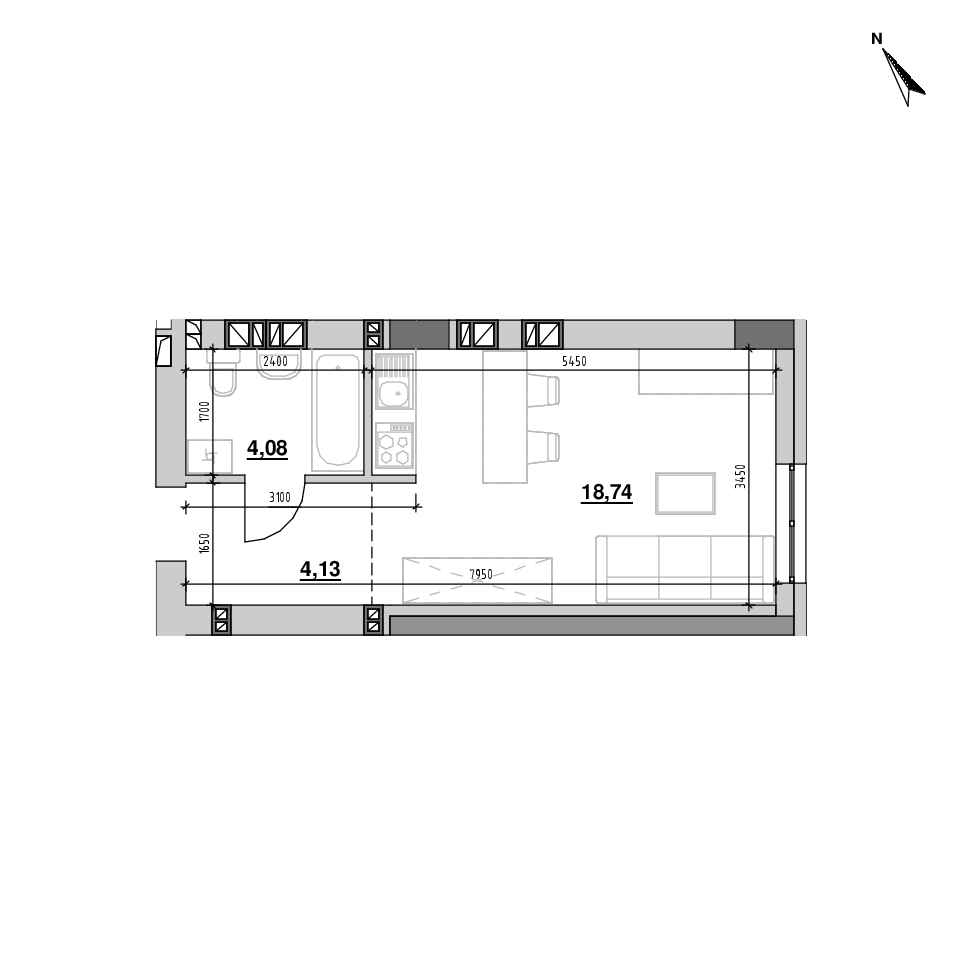 ЖК Riel City: планування 1-кімнатної квартири, №188, 26.94 м<sup>2</sup>