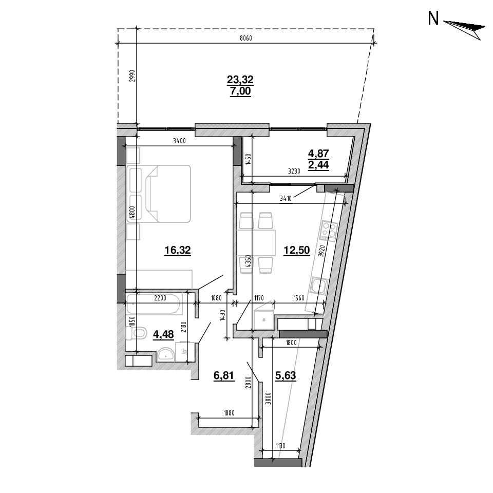 ЖК Підзамче. Брама: планування 1-кімнатної квартири, №2, 57.88 м<sup>2</sup>