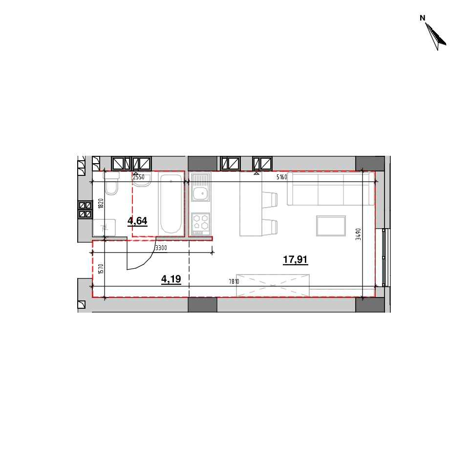 ЖК Riel City: планування 1-кімнатної квартири, №110, 26.74 м<sup>2</sup>