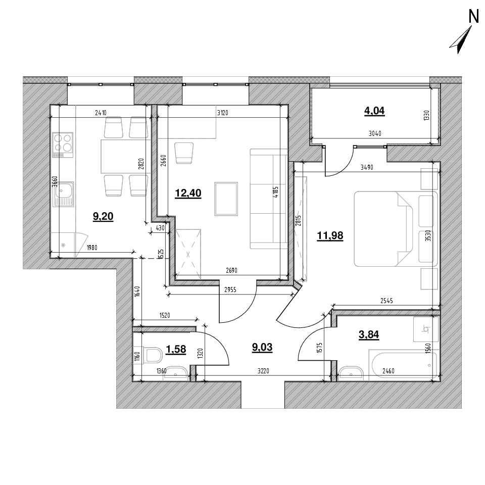 ЖК Шенген: планування 2-кімнатної квартири, №67, 52.07 м<sup>2</sup>