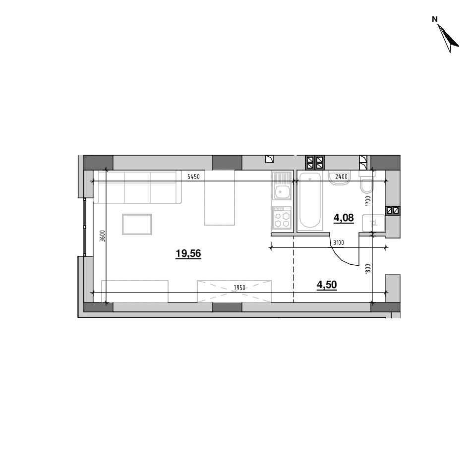 ЖК Riel City: планування 1-кімнатної квартири, №124, 28.14 м<sup>2</sup>