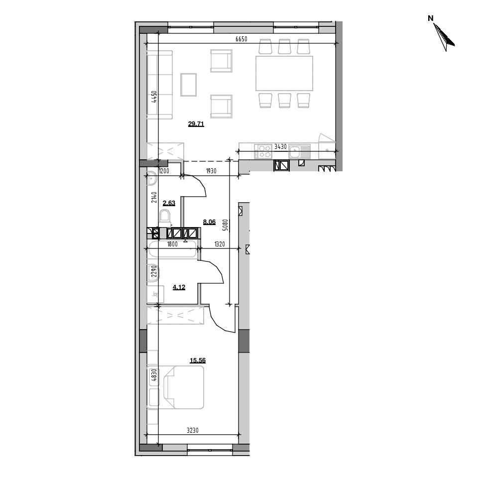 ЖК Riel City: планування 1-кімнатної квартири, №112, 60.17 м<sup>2</sup>