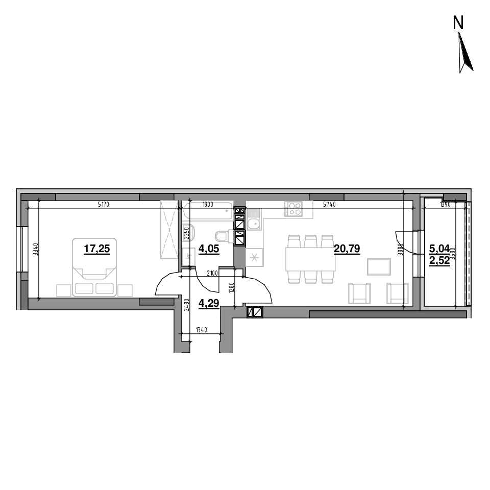 ЖК Riel City: планування 1-кімнатної квартири, №91, 48.9 м<sup>2</sup>