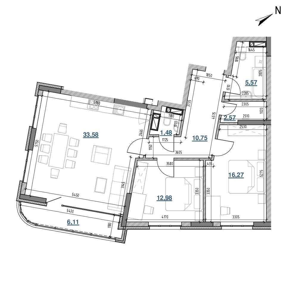 ЖК Берег Дніпра: планування 2-кімнатної квартири, №313, 89.31 м<sup>2</sup>