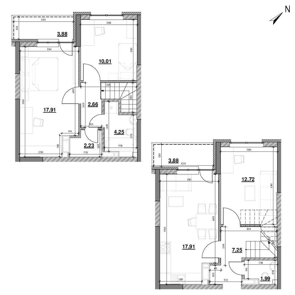 ЖК Оk'Land: планування 3-кімнатної квартири, №446, 82.25 м<sup>2</sup>