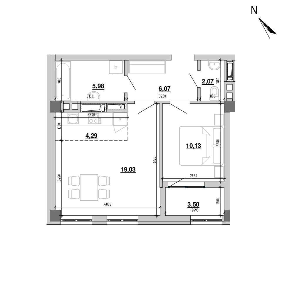 ЖК Підзамче. Вежа: планування 2-кімнатної квартири, №4, 51.07 м<sup>2</sup>