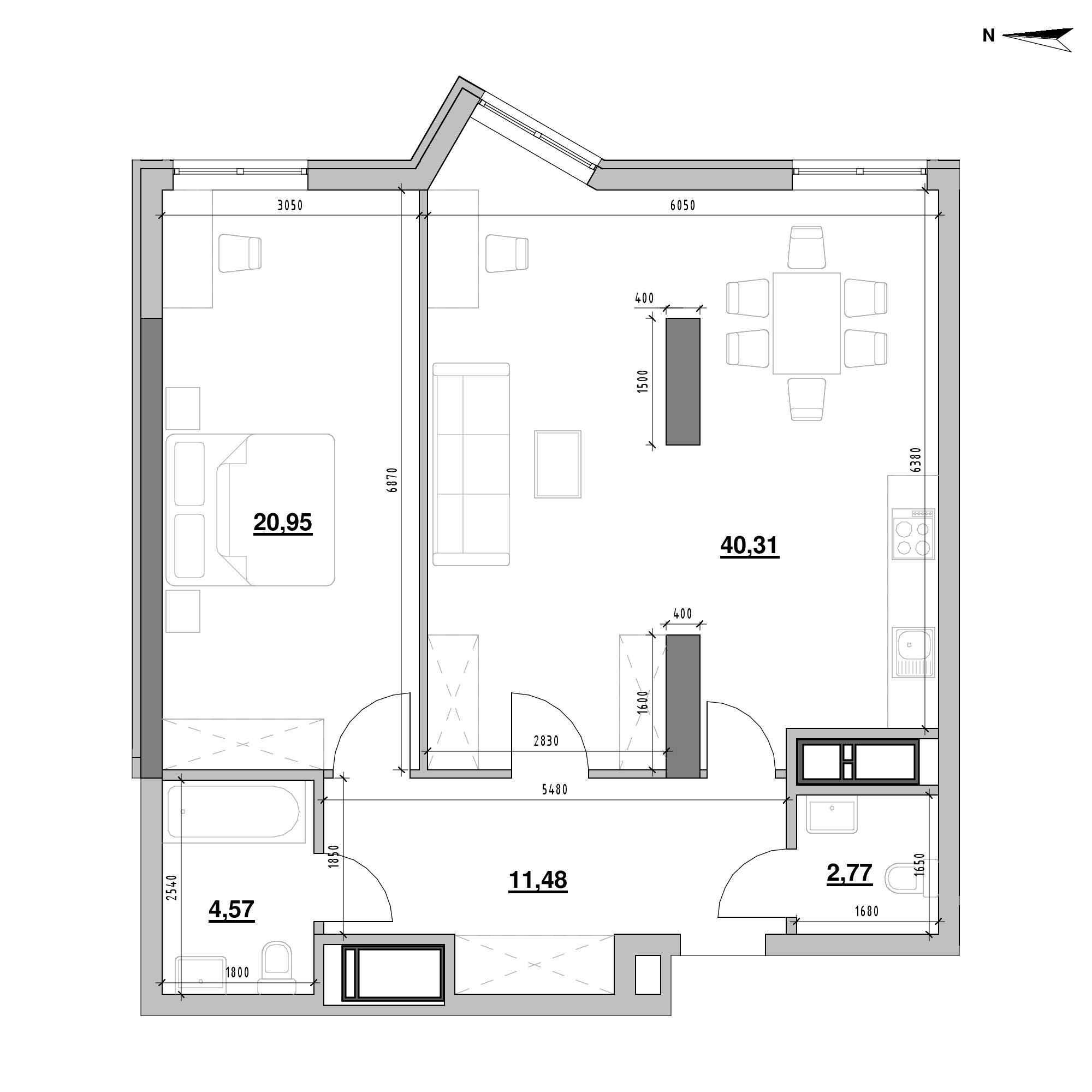 ЖК Nordica Residence: планування 1-кімнатної квартири, №17, 80.08 м<sup>2</sup>